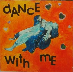 "A lady lies back on a man with a wheelchair - hearts are in the picture, and the text read ""dance with me"""